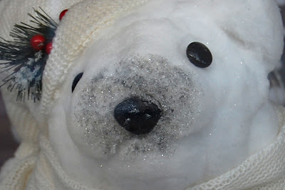 Polar Bear's face in window display.
