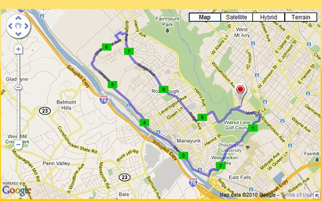 Map of the run from Run.com.
