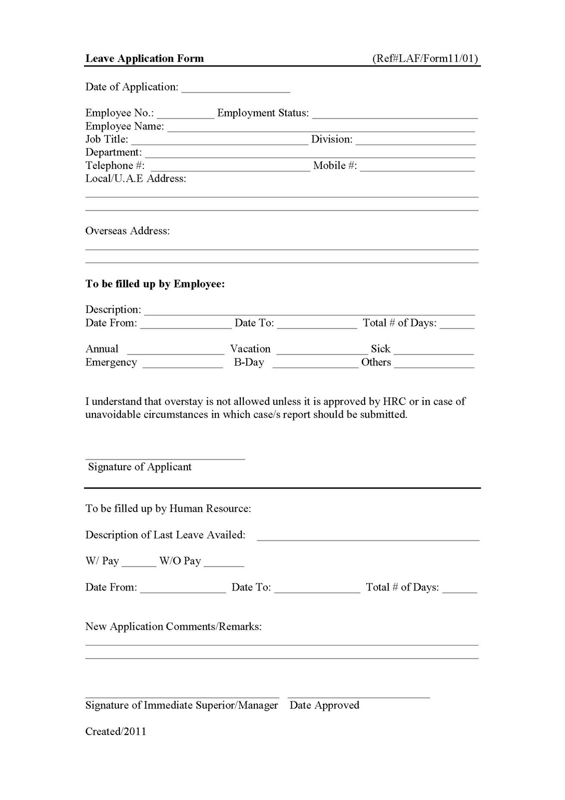 Leave Application Form. Posted By KSM At 7:03 AM  Application For Leave Form