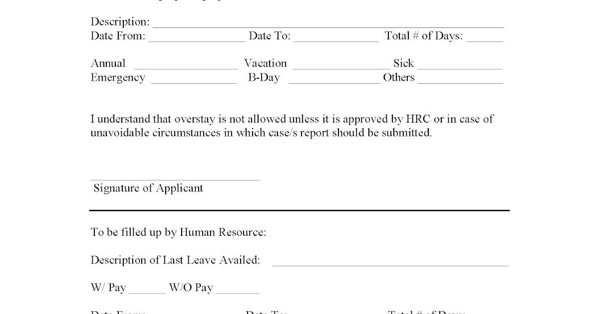 HR Forms and Letters Leave Application Form – Leave Application Forms