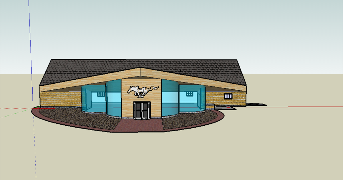 Front Elevation Of Showroom : Sketch up drawings mustang front elevation car showroom