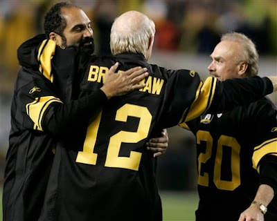 Terry Bradshaw, Franco Harris, Rocky Bleier, Steelers 75th Anniversary game