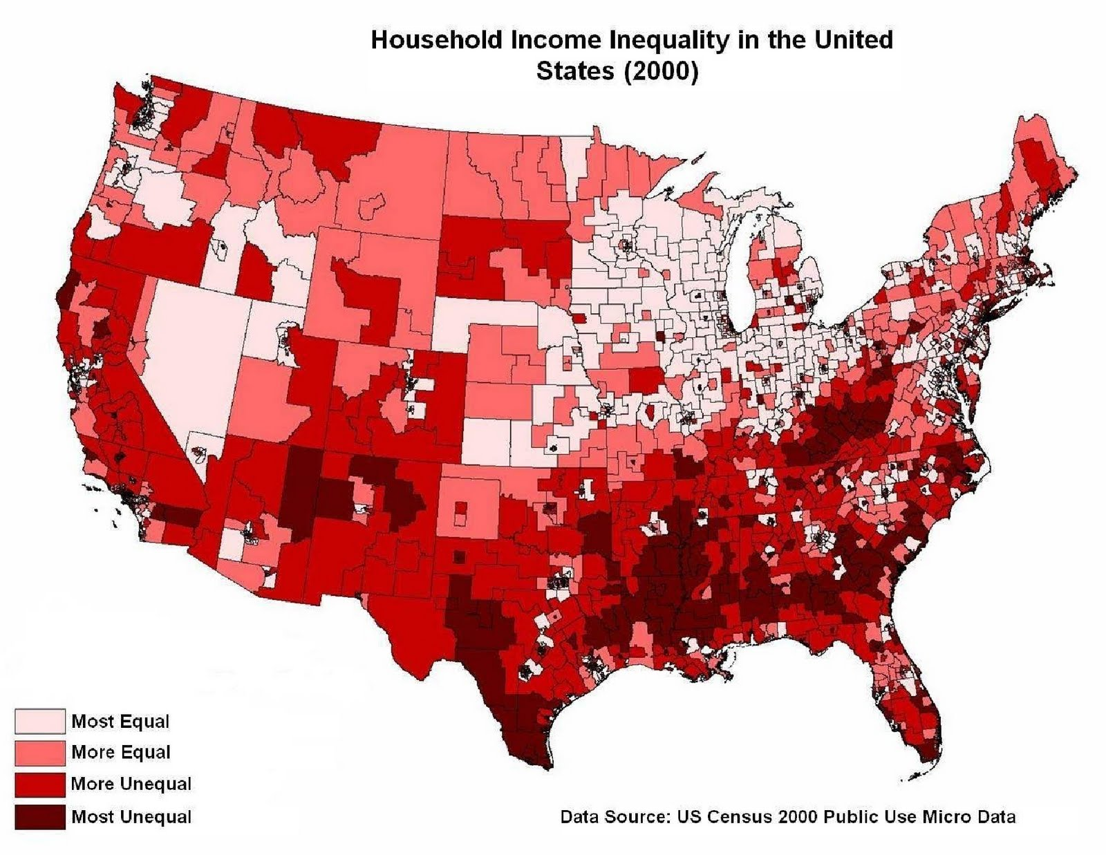 the unequal distribution of income in the united states of america The three richest americans have the same amount of wealth as the  income  inequality will be a major topic at the conference, which runs.