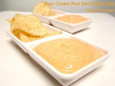 Vasavi's Recipes: Sour Cream Red Bell Pepper Dip