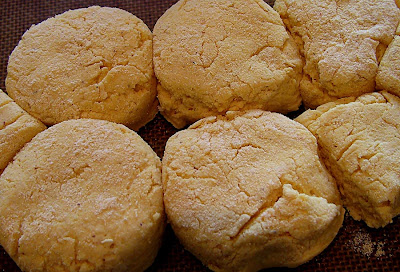 Cornmeal biscuits ready to go into the oven