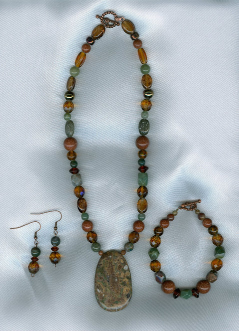 Mongolian Jasper Pendant with Fancy Jasper and Goldstone Beads