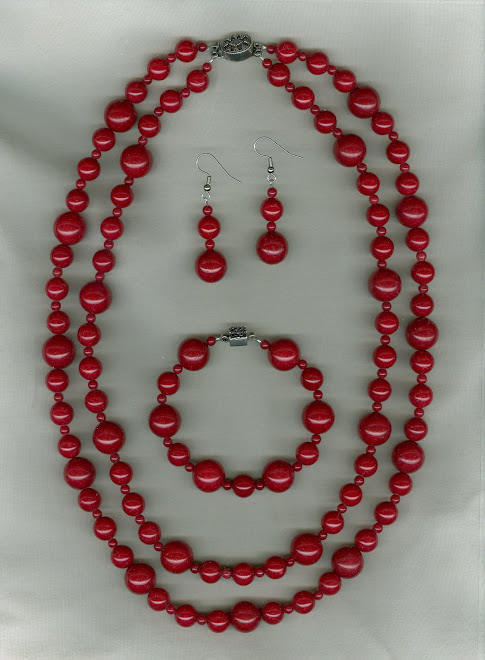 "Double Strand Red ""Jade"" with Sterling Silver Clasp"