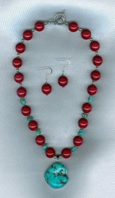 Red Beaded Necklace w/ Turquoise Pendant
