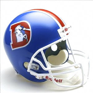 The 21st century design is way better than their old helmet  Broncos Football Helmet Front View