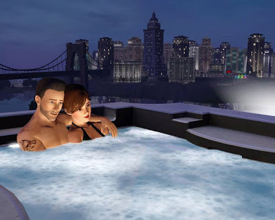 Sims 3 Late Night: Nothing like gettin' your virtual pimp on in a hot tub!