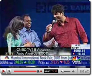 Rajiv Bajaj, Bajaj Auto MD receiving CNBC TV18 Award
