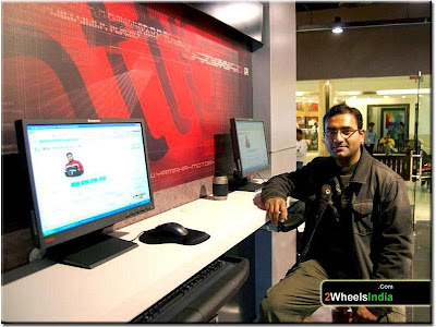 Sajal Checking out The Bike Chronicles of India @ Yamaha Bike Station