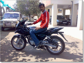 Shashank Zope with his Pulsar 220 DTSFi