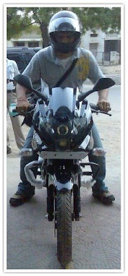 Gagan on his Pulsar 220 DTS-i