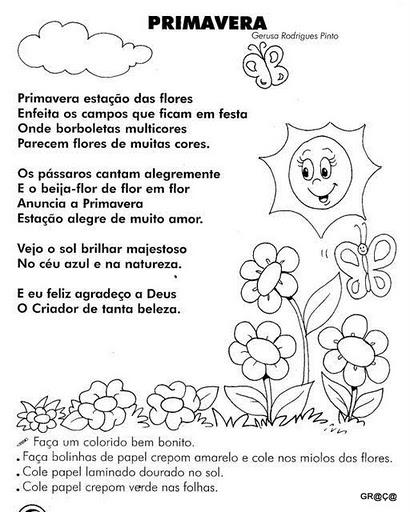 flores no jardim letra:Textos e atividades sobre a primavera