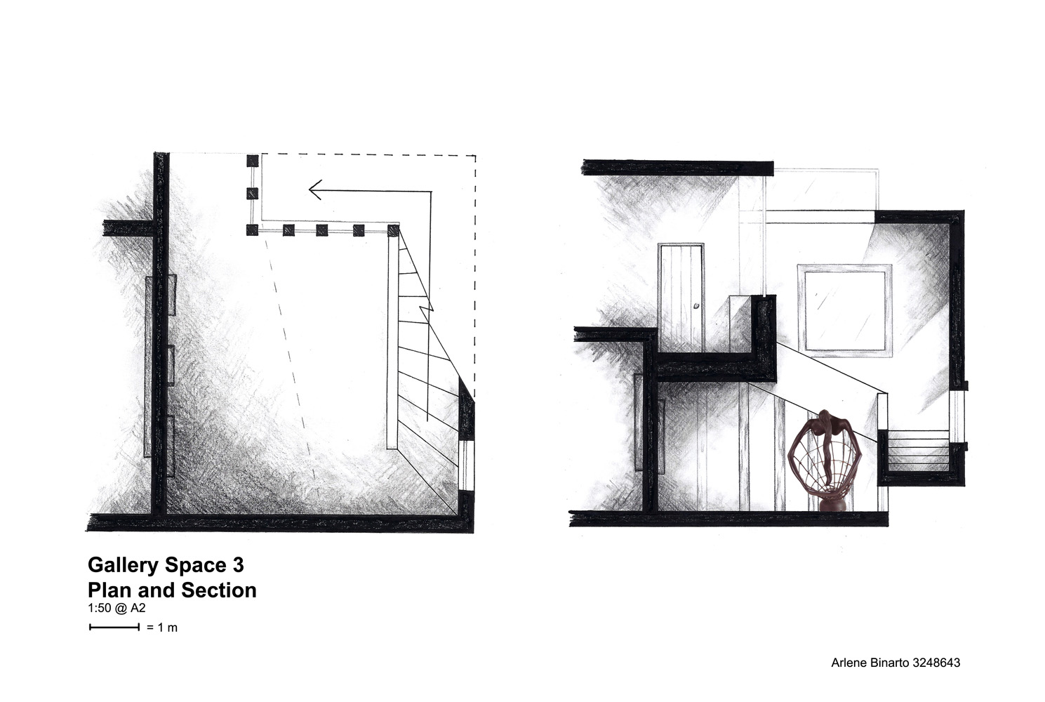 One room section and plan poche arlene binarto for The concept of space in mamluk architecture