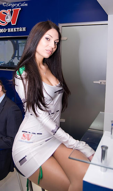 promotional model in short dress