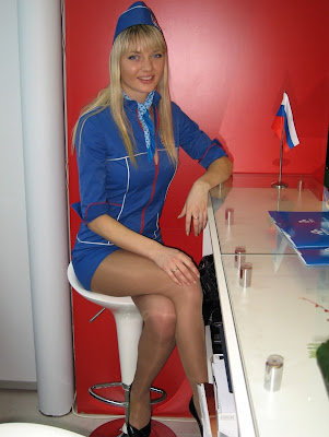 Models in Stewardess Costume and Pantyhose