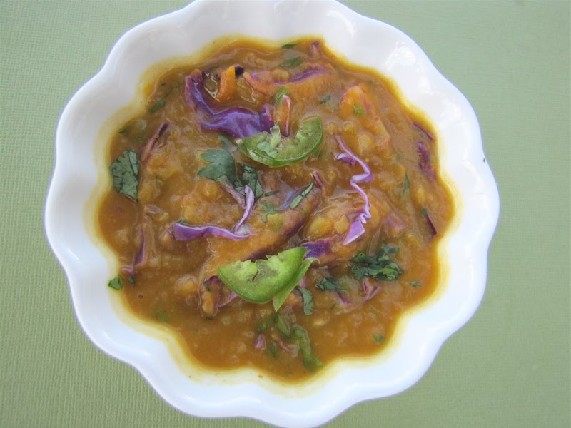 Spicy Pumpkin Thai Soup with Red Cabbage & Cilantro