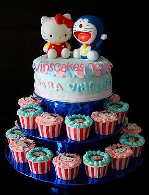 Hello Kitty Doraemon Cake Cupcake Set Happy Birthday Sara Vincent