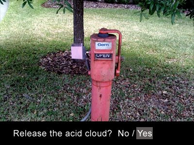 Release the acid cloud? No / Yes