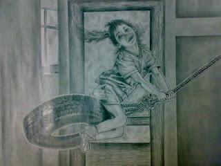 Joy of Sketching - Rain drops on Leaf water drops Pencil Sketching artwork drawings kid girl childhood tyres grip rope happy smiles