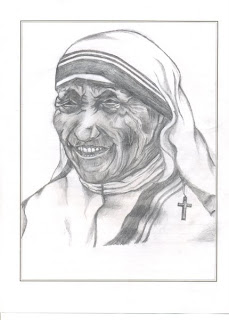 Motherly Love of Calcutta Teresa Nobel Prize for Peace in 1979 pencil sketching popular faces portrait smiling dress Graphite Pencil on Paper A4 sufferrings helping hand motherly love peace