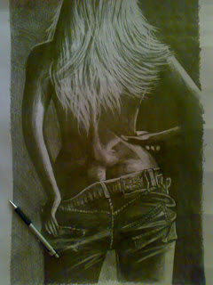 Jeans Wear -girl  Drawing the nude Hair long women hair back black clothes artwork Pencil sketching human figures black and white