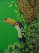 Tucano e Arara que compõe um painel que pintei em uma parede.