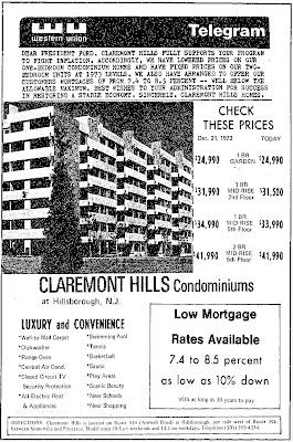 Claremont Hills ad, 1974