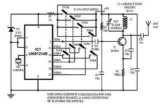 electronic circuits diagram radio remote control using Tone Generator DTMF Decoder Circuit