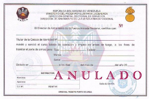MODELO: Certificado de Tiro (Req. para el porte de arma y renovacion)