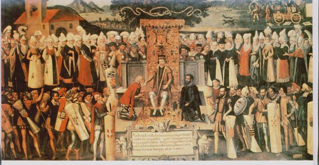 Besamanos a Fernando V por los vizcainos en 1476