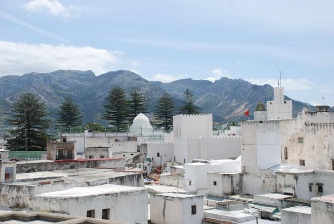 Vista parcial de la medina de Tetuán, con las montañas del Rif al fondo. Reino de Marruecos.