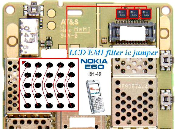 Nokia E60 LCD ic jumper