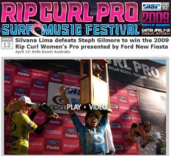 matéria do site da rip curl sobre a vitória da Silvana