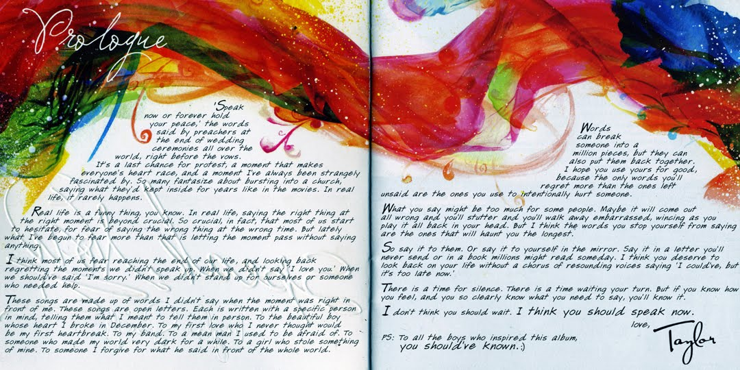 Taylor Swift Quotes From Songs From Speak Now Taylor Swift Speak Now Booklet