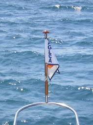The burgee on the big lake Mishegame...north wind at one knot!