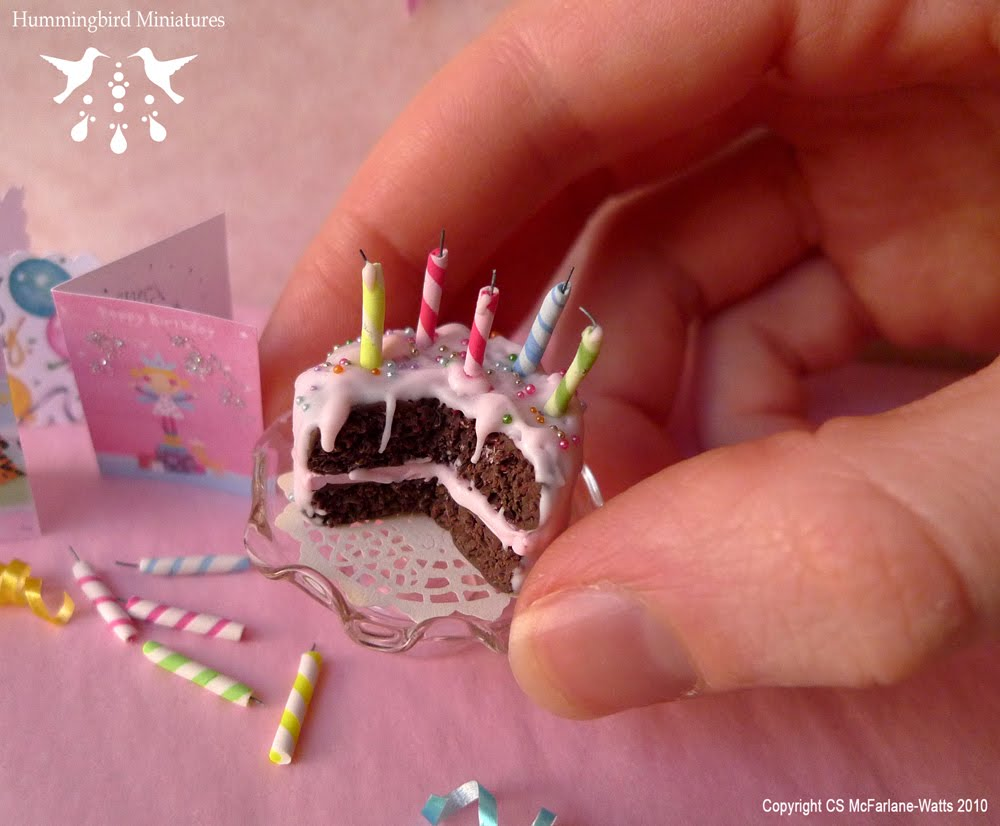 Hummingbird Miniatures Dollhouse Miniature Pink Birthday Cake In 1
