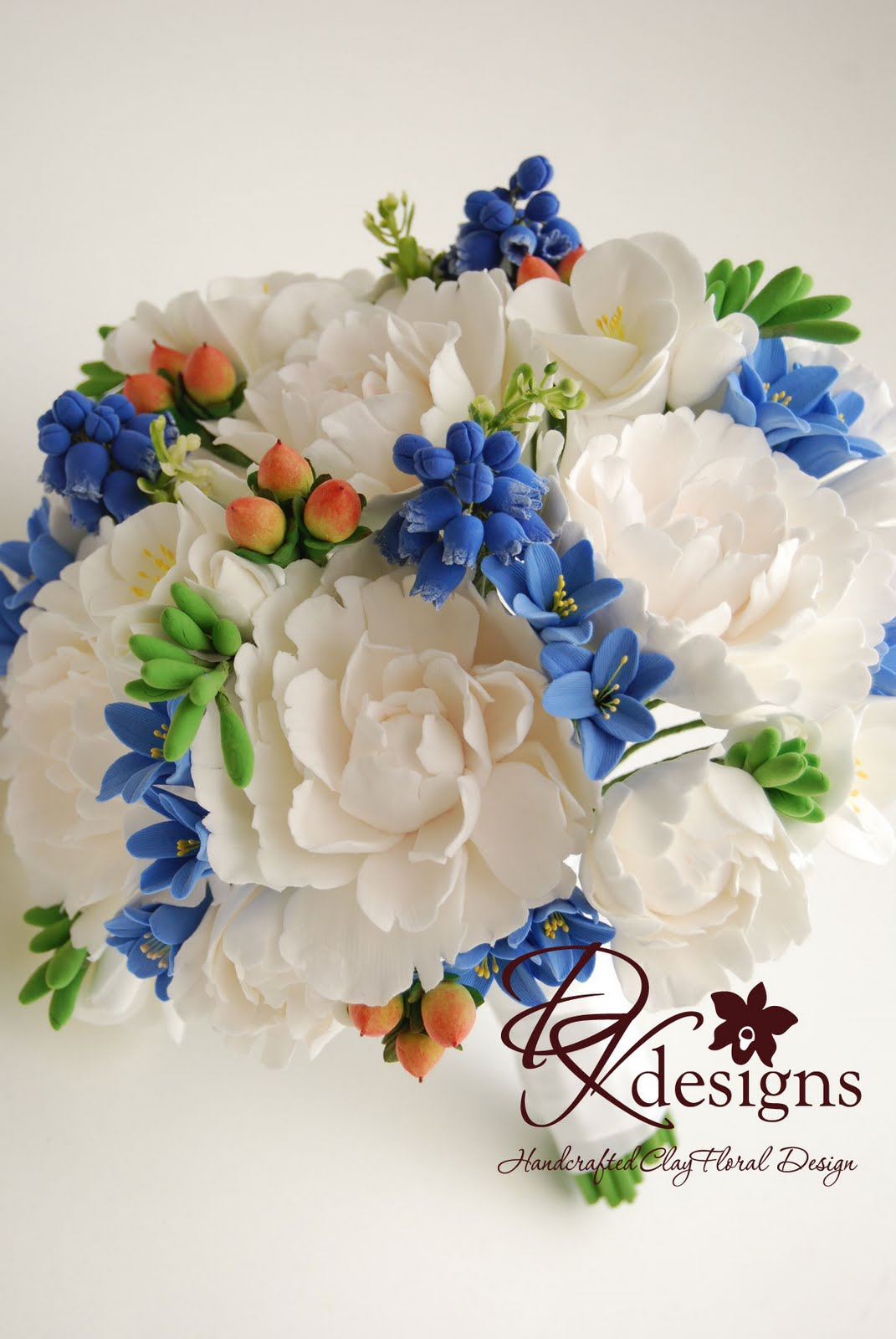 Dk designs peonies grape hyacinth blue hyacinth and hipericum she wanted for her bouquet white peonies blue hyacinth white freesia grape hyacinth and reddish green hipericum berries this is how it turned out dhlflorist Choice Image