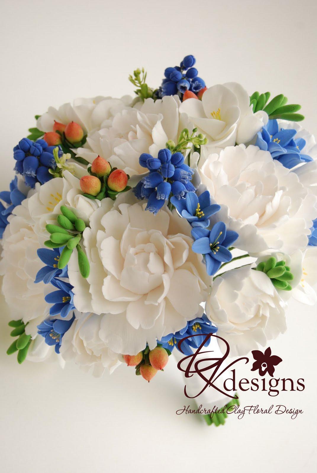 Peonies, Grape Hyacinth, Blue Hyacinth and Hipericum Berry Bouquet ...
