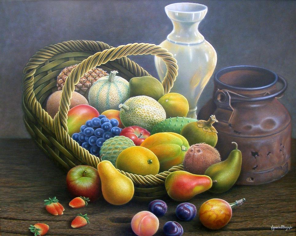 Serie De Im  Genes De Bones De Frutas Tropicales Pintadas Al Oleo