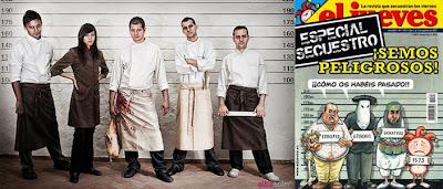 Restaurante 'El portal fosc' y portada de 'El Jueves', aludiendo al famoso secuestro