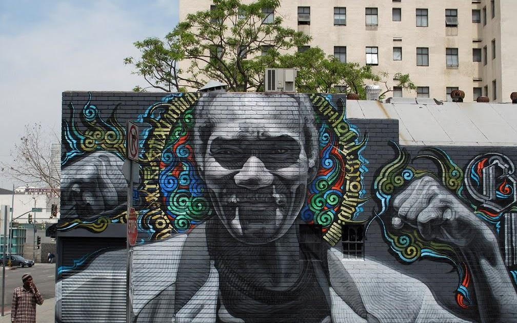 Mac art skid row mural los angeles for Art miles mural project