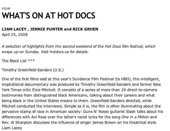 From Hot Docs - Global Mail - Toronto