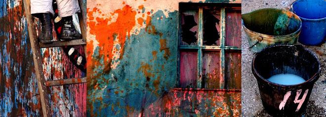 escada janela e balde