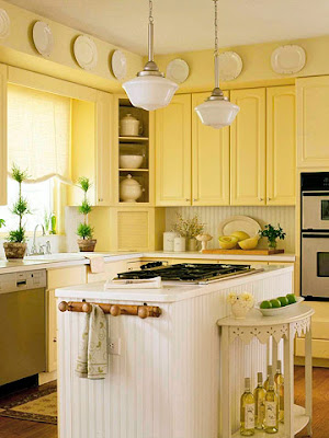 Cottage certain ideas for a yellow kitchen afreakatheart for Cute yellow kitchen ideas