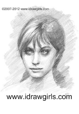 how to draw female portrait, drawing tutorial step by step