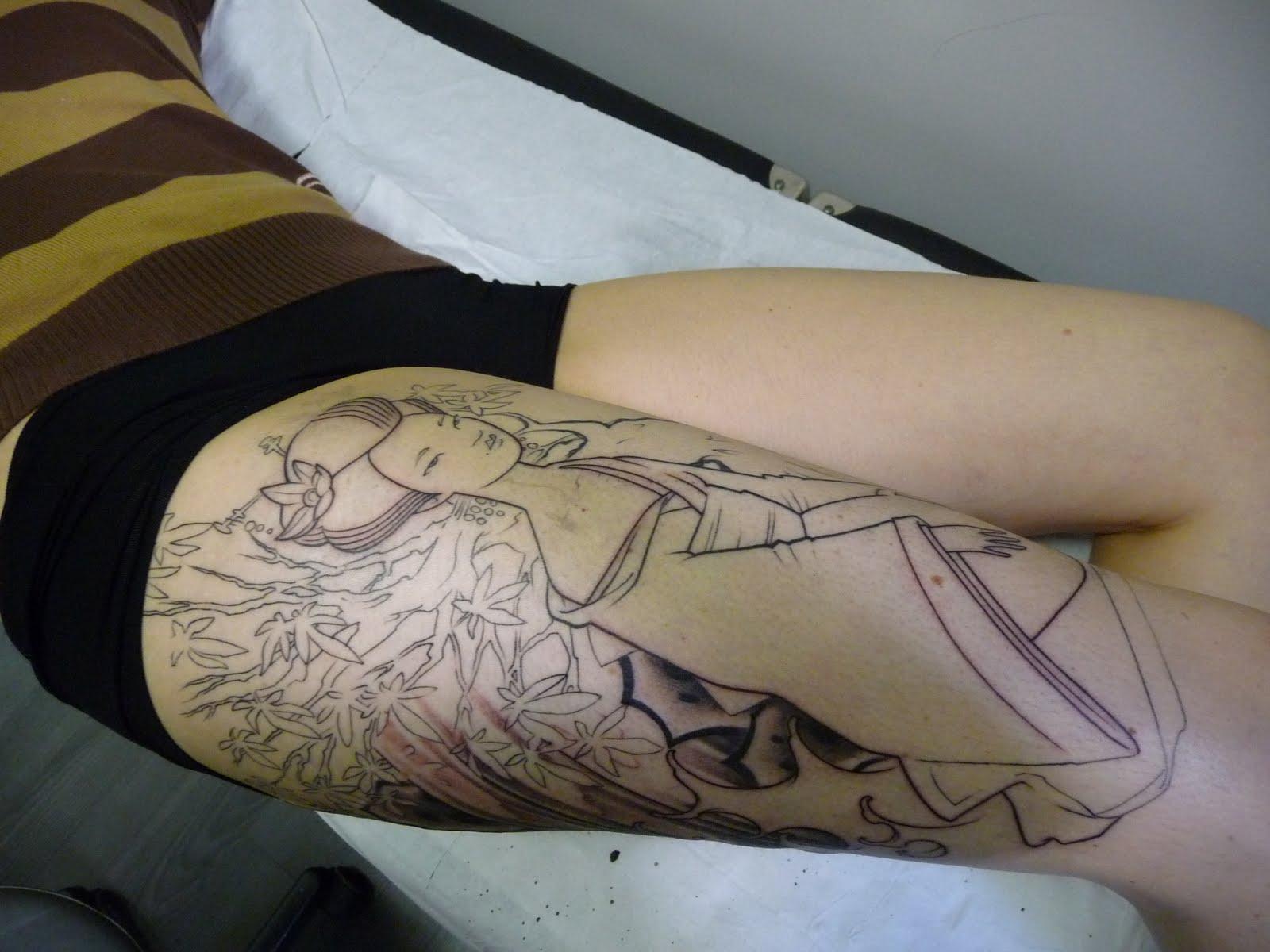 Tatouage geisha jambe - Tattoo cuisse femme ...