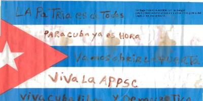 Santiago Valdeolla escribio con sangreesta Bandera estando preso en la Estación del Capri